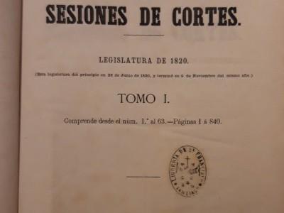 Obra do mes. Novembro 2020. Diario de las sesiones de Cortes